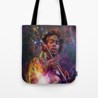 woodstock Tote Bags featuring Woodstock Kiss the Sky by ZiggyChristenson