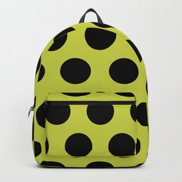 Mid Century Modern Polka Dots 552 Black and Chartreuse Backpack