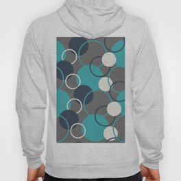 Teal Turquoise Aqua Dark Navy Blue and Alabaster White Solid Color Circles and Rings Pattern - Aquarium SW 6767 Hoody