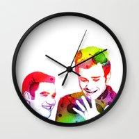 klaine Wall Clocks featuring Joy in Color by Jen K