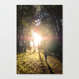 Woman hiking along an Oregon forest trail at sunset Canvas Print