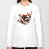 red panda Long Sleeve T-shirts featuring Red Panda by Anna Shell