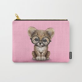 Cute Cheetah Cub Wearing Glasses on Pink Carry-All Pouch