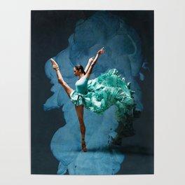 -O1- Blue Ballet Dancer Deep Feelings. Poster
