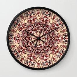 Beige Old Rose Mandala  Psychedelic Pattern Wall Clock