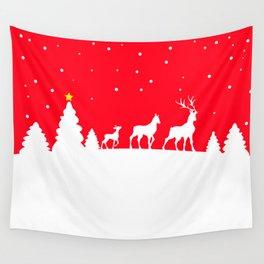 deer family in winter landscape Wall Tapestry