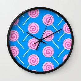 Sweet Pink Candy Lollipops Wall Clock