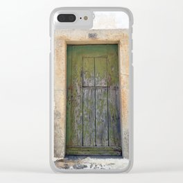 Old Green Door in Tavira, Portugal Clear iPhone Case