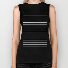 Black with white stripes Biker Tank