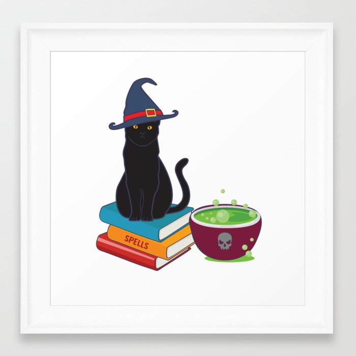 Feline Witch S Brew Black Cat Spell Book Halloween Graphic Framed Art Print By Tronictees Society6