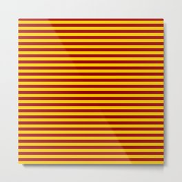 Cardinal and Gold Horizontal Stripes Metal Print