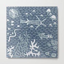 Bluberry Pancake Sea Life No. 2 Stripes Metal Print