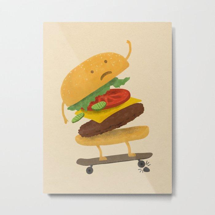Burger Wipe-out Metal Print