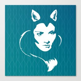 Faces - foxy lady Marlene on a teal wavey background Canvas Print