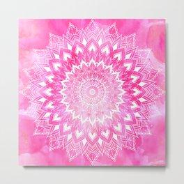 Boho chic white floral mandala on neon pink watercolor tie dye Metal Print