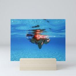 Beautiful Women Snorkeling in the Tropical Sea, Underwater Sandy Bottom Mini Art Print