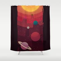 solar system Shower Curtains featuring Solar System by badOdds