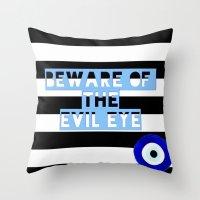 evil eye Throw Pillows featuring evil eye by Iris & Ino