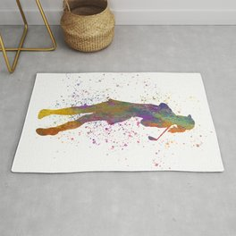 Female golf player competing in watercolor 02 Rug