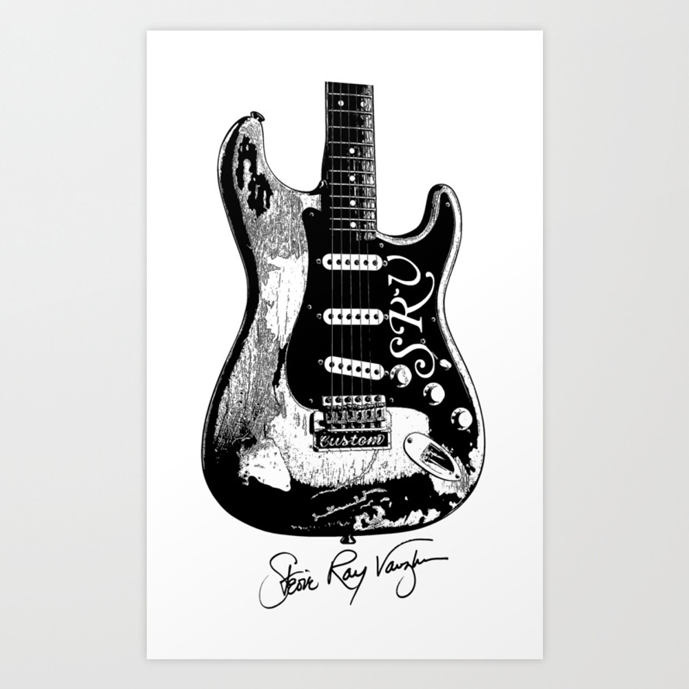 Stevie Ray Vaughan - Guitar-blues-rock-legend Art Print by Amadeumarques PRN9003508