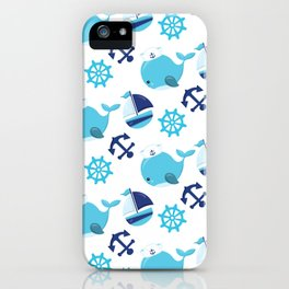 Whale Pattern, Sailor Whales, Sailor Boats - Blue iPhone Case