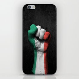 Italian Flag on a Raised Clenched Fist iPhone Skin
