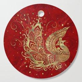 Golden Phoenix Bird on red Cutting Board