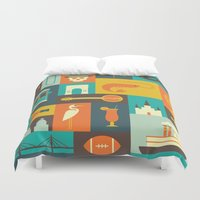 new orleans Duvet Covers featuring New Orleans by Ariel Wilson