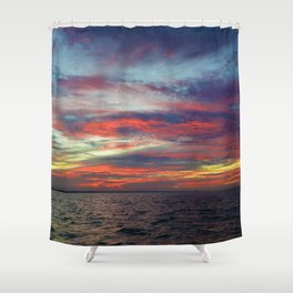 Fall sunset above Lake St. Clair, Canada Shower Curtain