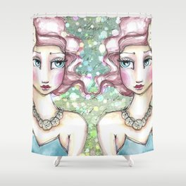 Twin Mermaids with Sand Dollars Shower Curtain