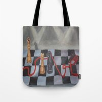 chess Tote Bags featuring Chess by Lark Nouveau Studio