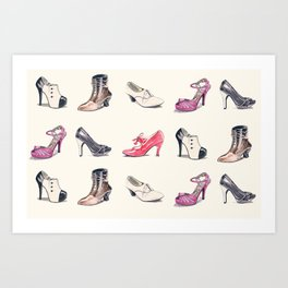 Vintage Shoes Pattern Art Print