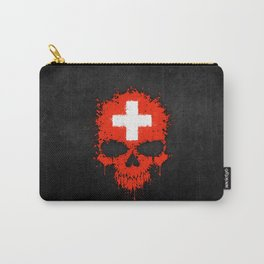 Flag of Switzerland on a Chaotic Splatter Skull Carry-All Pouch