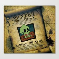 monkey island Canvas Prints featuring Monkey Island - WANTED! Murray, the Skull by Sberla