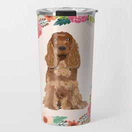cocker spaniel dog floral wreath dog gifts pet portraits Travel Mug