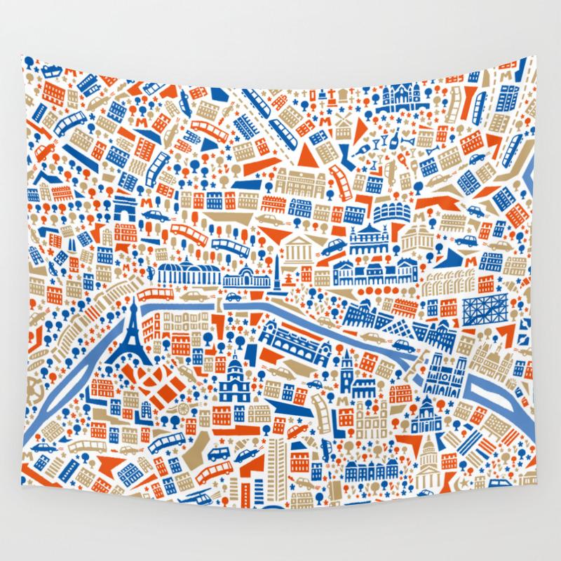 Paris City Map Poster Wall Tapestry by vianina | Society6