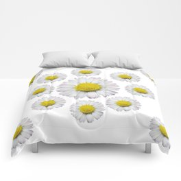 ALL WHITE SHASTA DAISY FLOWERS ART Comforters