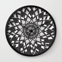 GREY, BLACK AND WHITE FLOWER OF LIFE Wall Clock