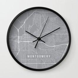 Montgomery Map, Alabama USA - Pewter Wall Clock
