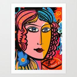 Portrait of a Woman Mid Century French Art Pop by Emmanuel Signorino Art Print