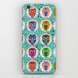 funny colored owls on a turquoise background iPhone Skin