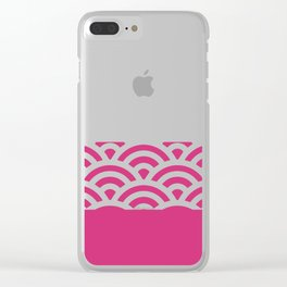 Rainbow Trim Bright Pink Gum Clear iPhone Case