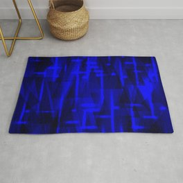 Bright dark blue highlights on marine triangles and metal stripes. Rug