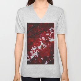 Red Autumn Leafs (Color) Unisex V-Neck