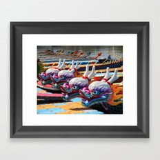 Traditional Dragon Boats in Taiwan Framed Art Print
