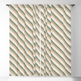 Diagonal Stripes in Olive, Terracotta, Tan and Cream Blackout Curtain