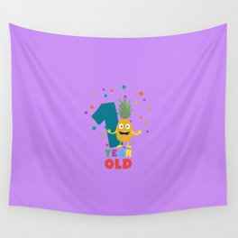 One Year Old First Birthday Party T Shirt Dpuo7 Wall Tapestry