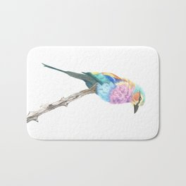 Lilac Breasted Roller - Colored Pencil Bath Mat