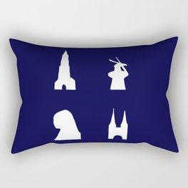 Delft silhouette on blue Rectangular Pillow