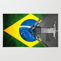 brazil Area & Throw Rugs featuring Flags - Brazil by Ale Ibanez